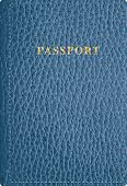 foto of passport cover  - vector blue leather passport cover - JPG