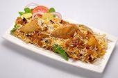 stock photo of raita  - A fresh, hot and spicy Chicken Biryani wit salad & raita ** Note: Soft Focus at 100%, best at smaller sizes - JPG