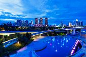 image of singapore night  - Singapore city skyline at night - JPG