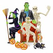 picture of frankenstein  - A friendly happy looking cartoon group of classic Halloween monsters - JPG