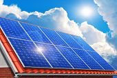 stock photo of ecology  - Creative solar power generation technology alternative energy and environment protection ecology business concept - JPG