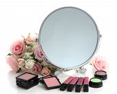 Group decorative cosmetics for makeup and mirror, isolated on white