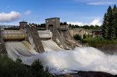 pic of hydroelectric power  - Spillway on hydroelectric power station dam in Imatra  - JPG