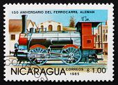 Postage Stamp Nicaragua 1985 Steam Locomotive, City Railway Engine