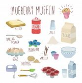 stock photo of cake-mixer  - blueberry muffin recipe - JPG