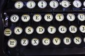 stock photo of qwerty  - An Antique Typewriter Showing Traditional QWERTY Keys III - JPG