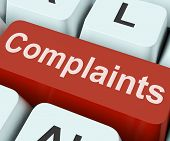 stock photo of moaning  - Complaints Key Showing Complaining Or Moaning Online - JPG