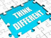stock photo of thinking outside box  - Think Different Puzzle Showing Thinking Outside the Box - JPG