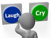 Laugh Cry Buttons Show Sad Happy Or Laughter