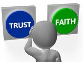 image of trust  - Trust Faith Buttons Showing Trustful Or Faithfulness - JPG