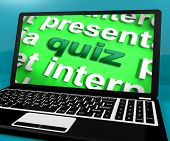 stock photo of quiz  - Quiz Computer Meaning Test Quizzes Or Questions Online - JPG
