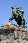foto of bohdan  - Bogdan Hmelnitsky on the horse in Kiev Ukraine - JPG