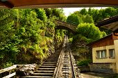 Funicular rail near Reichenbach in Switzerland
