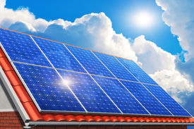 stock photo of solar battery  - Creative solar power generation technology alternative energy and environment protection ecology business concept - JPG