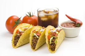 foto of mexican food  - delicious taco mexican food isolated over white - JPG