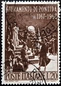ITALY - CIRCA 1967: Stamp printed in Italy shows Pontida oath of Giovanni Berchet circa 1967