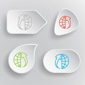 Globe and array up. White flat vector buttons on gray background.