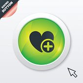 Heart sign icon. Add lover symbol.