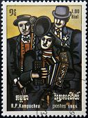 CAMBODIA - CIRCA 1985: A stamp printed in Cambodia shows Three Musicians by Ferdinand Leger