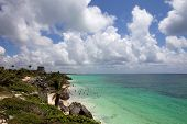 pic of yucatan  - small Mexico beach at Tulum ruins - JPG