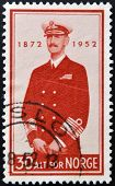 NORWAY - CIRCA 1952: A stamp printed in Norway shows Haakon VII of Norway circa 1952
