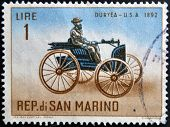 SAN MARINO - CIRCA 1962: A stamp printed in San Marino shows Old auto