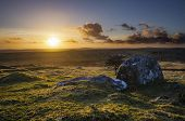 foto of minion  - The sunset spills its golden light over the moorland at Caradon Hill - JPG