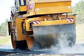 picture of tar  - Heavy Vibration roller compactor at asphalt pavement works for road repairing - JPG
