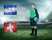 Soccer player stay at field. Game Honduras and Switzerland national teams.