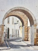 stock photo of faro  - Streets of old town Faro in Algarve Portugal - JPG