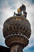 stock photo of king cobra  - Bronze statue of king yoganarendra malla in Durbar square Kathmandu Nepal - JPG