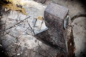 picture of ax  - Old ax and wooden stump - JPG