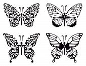 stock photo of summer insects  - Vector set of abstract butterflies - JPG