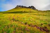 stock photo of boggy  - Scenic view of Inverpolly mountain peak Stack Pollaidh in Scotland United Kingdom - JPG