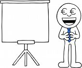 stock photo of greedy  - Hand drawn cartoon businessman happy and greedy with euro money eyes beside standing white board - JPG