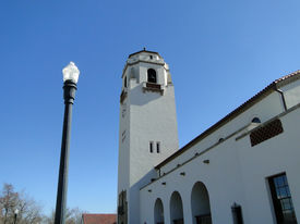 stock photo of boise  - The Boise Depot is a well known landmark in Idaho - JPG