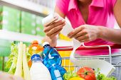 picture of receipt  - Unrecognizable woman checking a long grocery receipt leaning to a full shopping cart at store - JPG