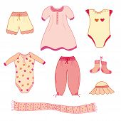 stock photo of babygro  - Set of baby girl nice clothes vector - JPG