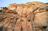 stock photo of petra jordan  - Stone ruins that form part of Little Petra Jordan - JPG
