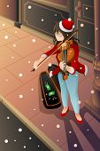 image of violin  - A vector illustration of street musician playing violin in the middle of winter night - JPG