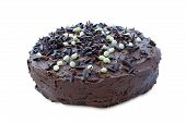 pic of chocolate fudge  - Sticky chocolate fudge cake sprinkled with chocolate pieces on an isolated white background - JPG
