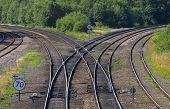 stock photo of train track  - A railway junction with lines curving to left and right - JPG