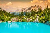 image of unbelievable  - Turquoise Sorapis Lake in Cortina d - JPG