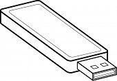 stock photo of usb flash drive  - usb flash drive line art - JPG