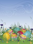 Easter Eggs On Grass 02