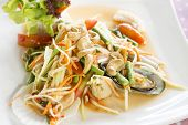 stock photo of green papaya salad  - Seafood som tum green papaya salad Thai food - JPG