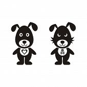 foto of vicious  - Black vector lovely and bad dog icons isolated - JPG