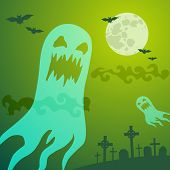 stock photo of moonlit  - Ghost in the cemetery a moonlit night - JPG
