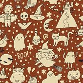 foto of vampire bat  - Vintage vector Halloween seamless pattern - JPG