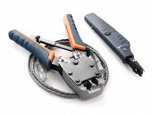 picture of cat5  - Crimping tool for twisted pair on a white background isolated - JPG
